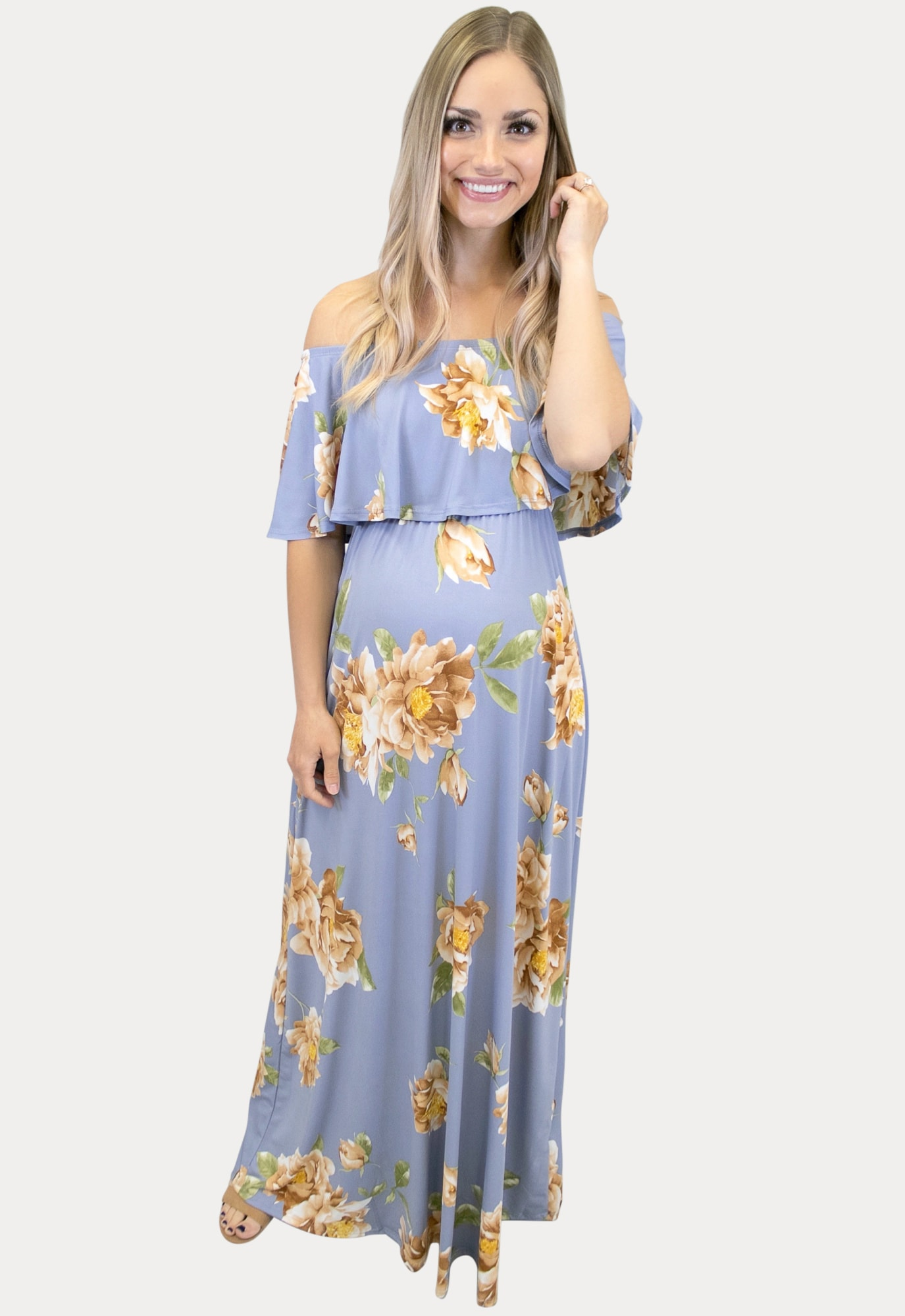 Pale Blue Floral Maternity Maxi Sexy Mama Maternity