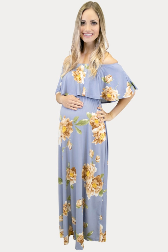pale blue floral maternity maxi