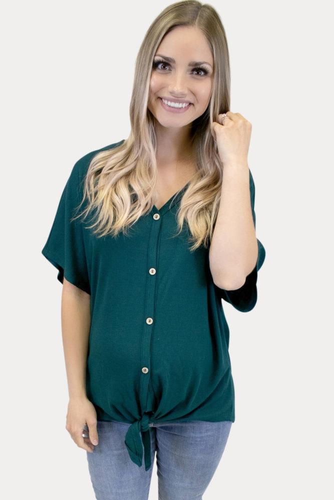 green tie maternity top