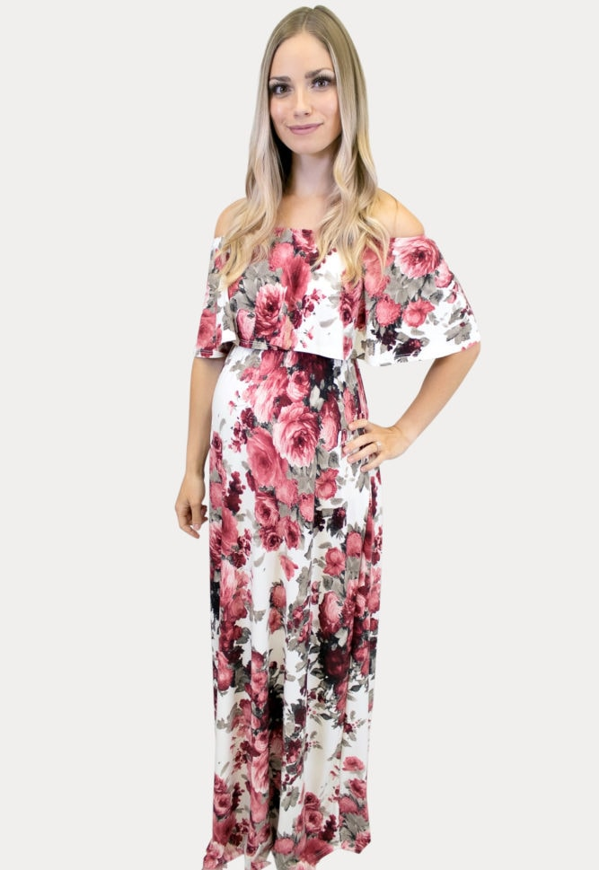 Rose Pink Floral Maternity Maxi