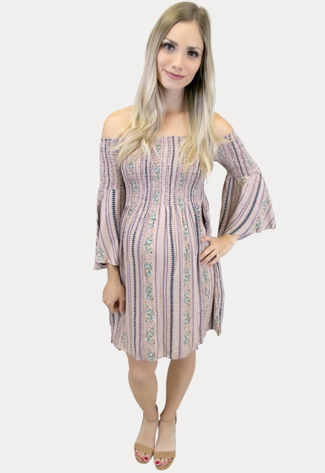 smocked Boho maternity dress