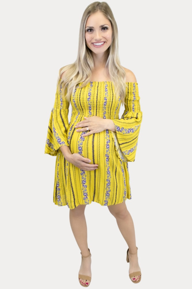 Bell sleeve Boho maternity dress