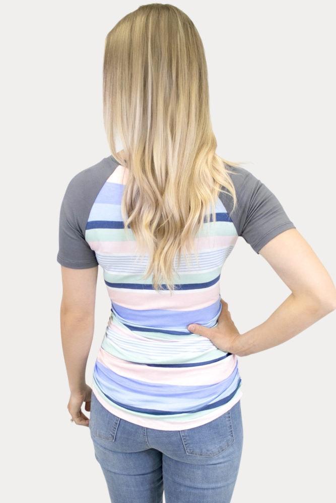 striped maternity baseball tee