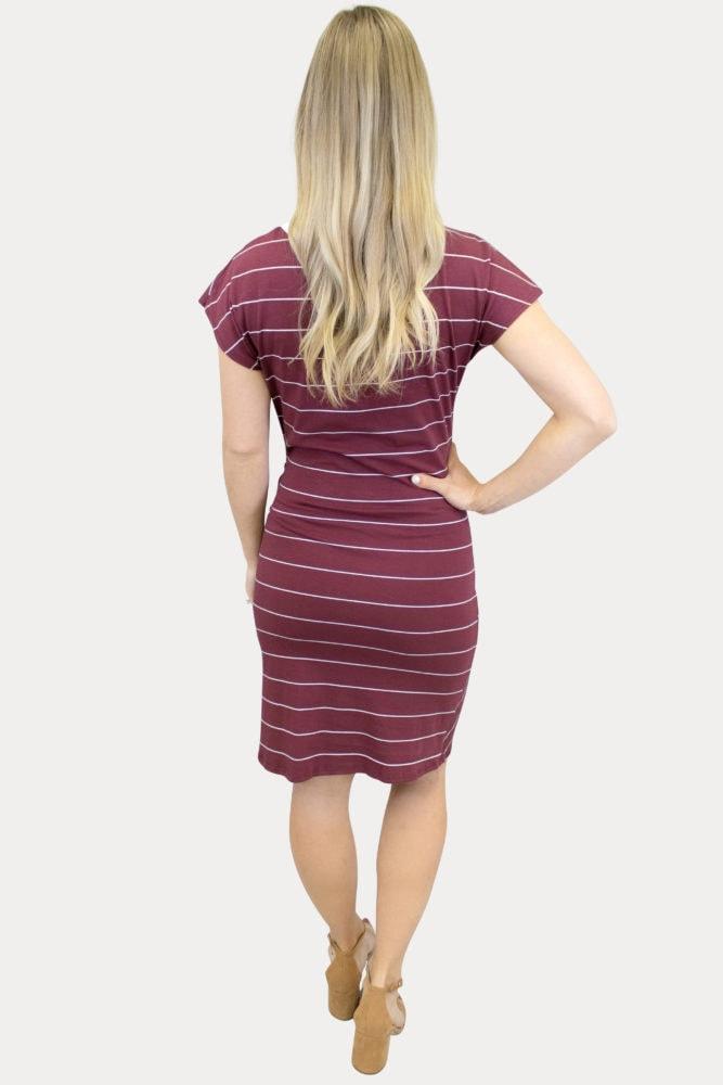 striped Burgundy maternity dress