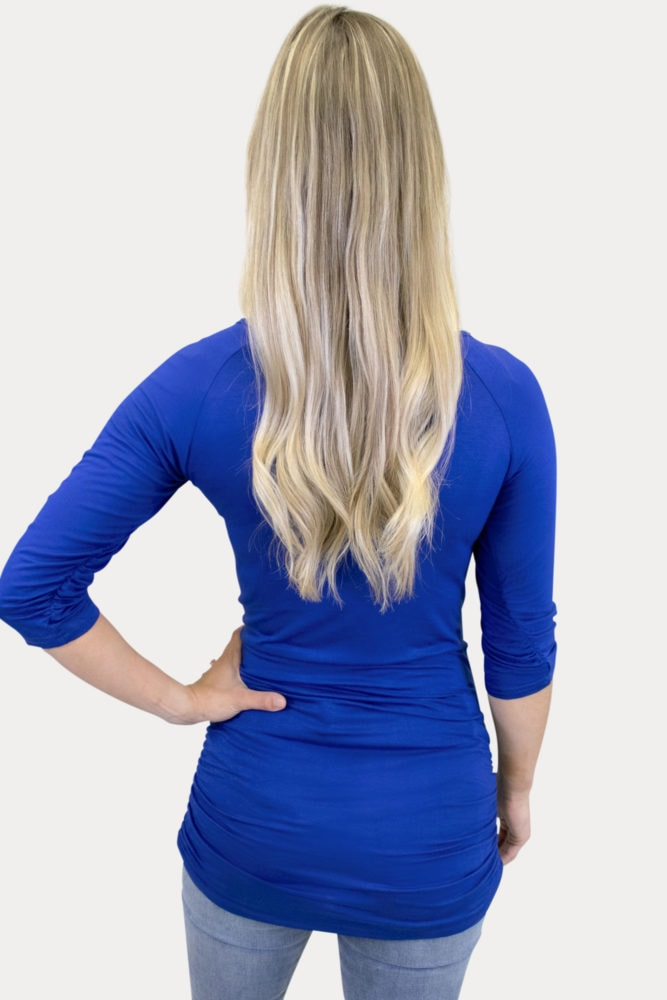 royal blue ruched maternity top