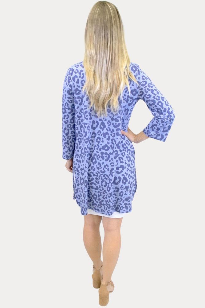 blue leopard maternity kimono