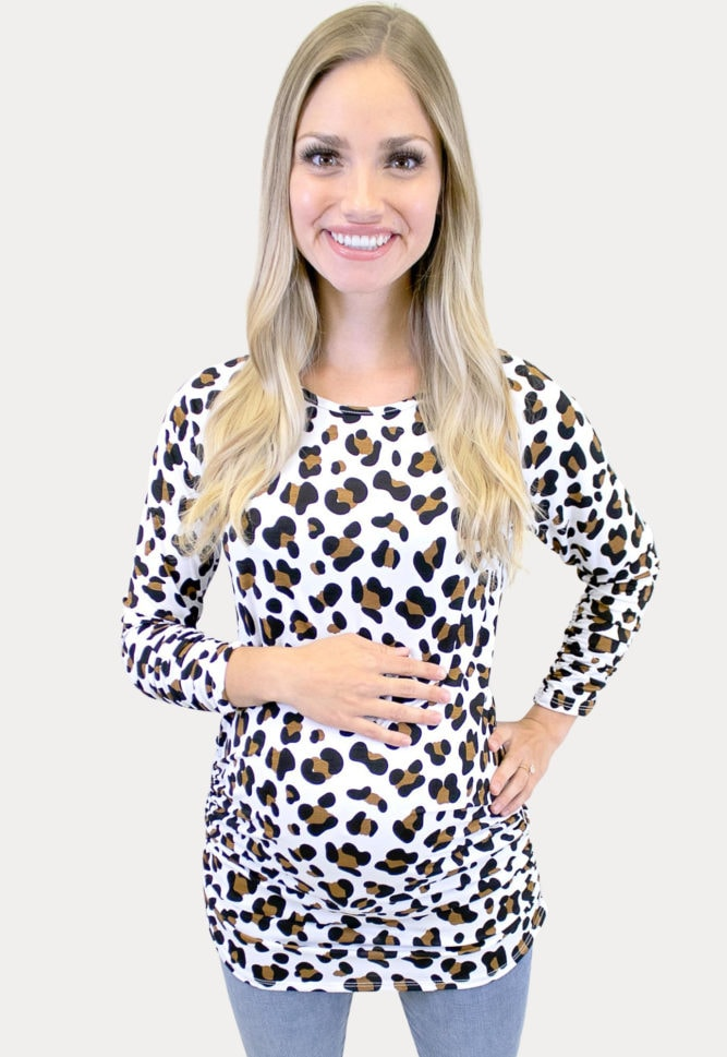cream leopard maternity top