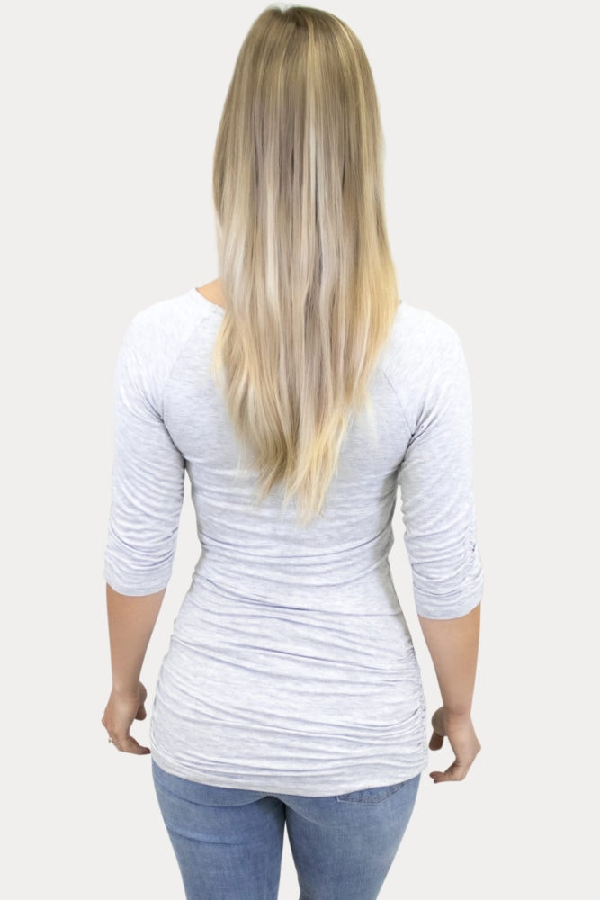 heather grey maternity top