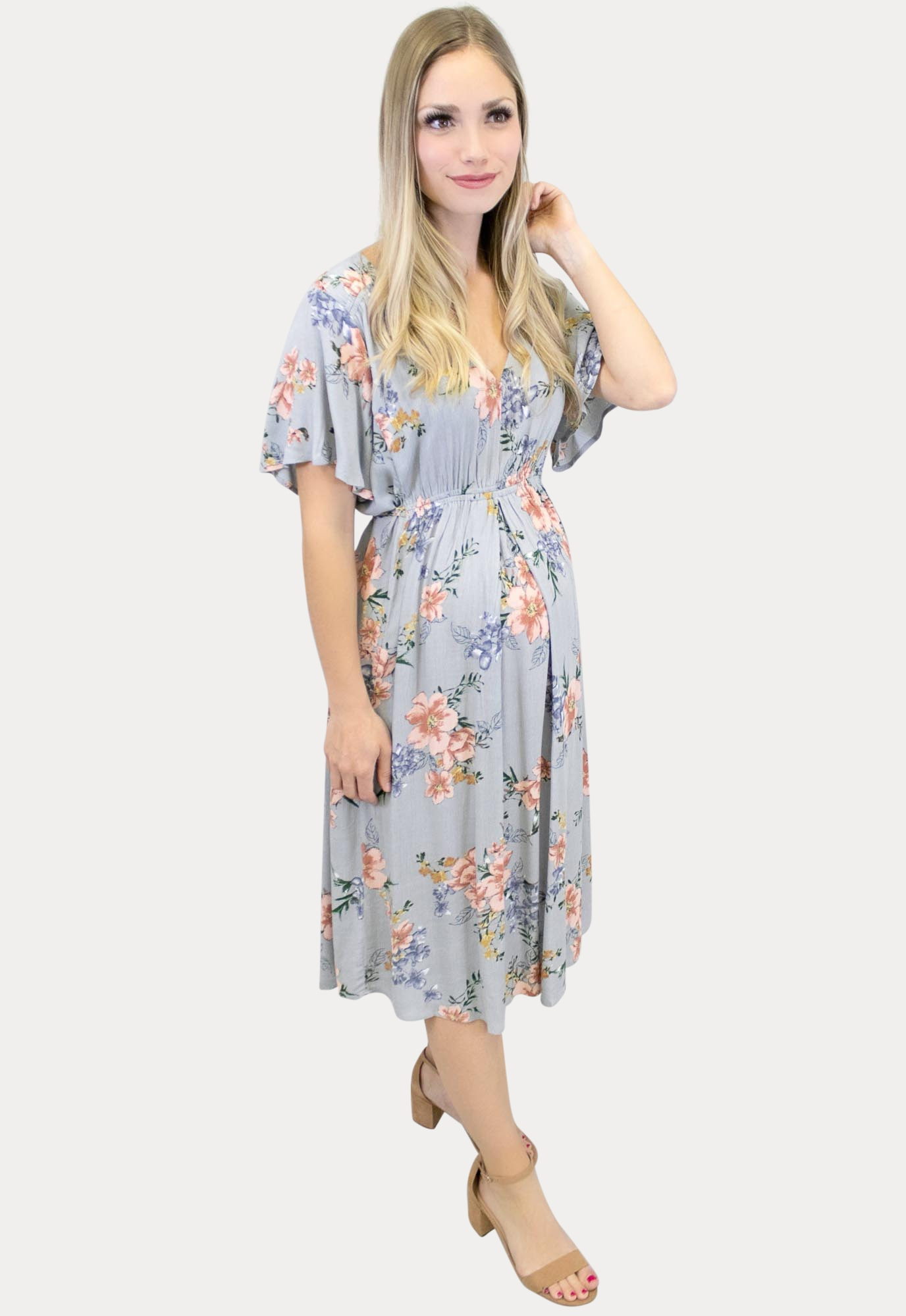 Floral Maternity Sundress With Short Sleeves Sexy Mama Maternity