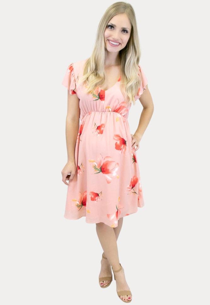 floral maternity dress in papaya