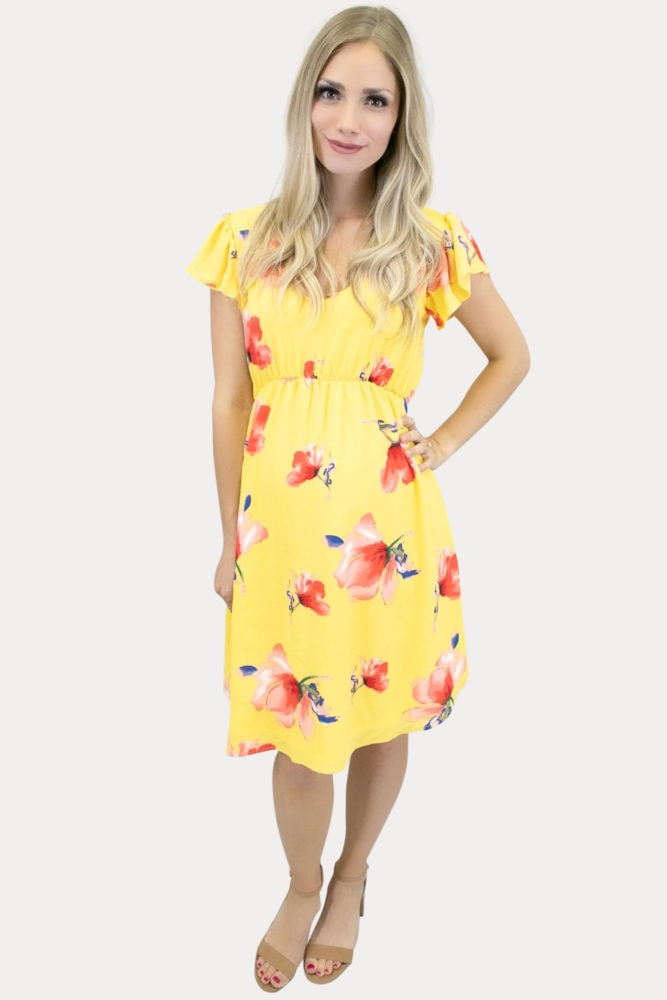 floral maternity dress in yellow