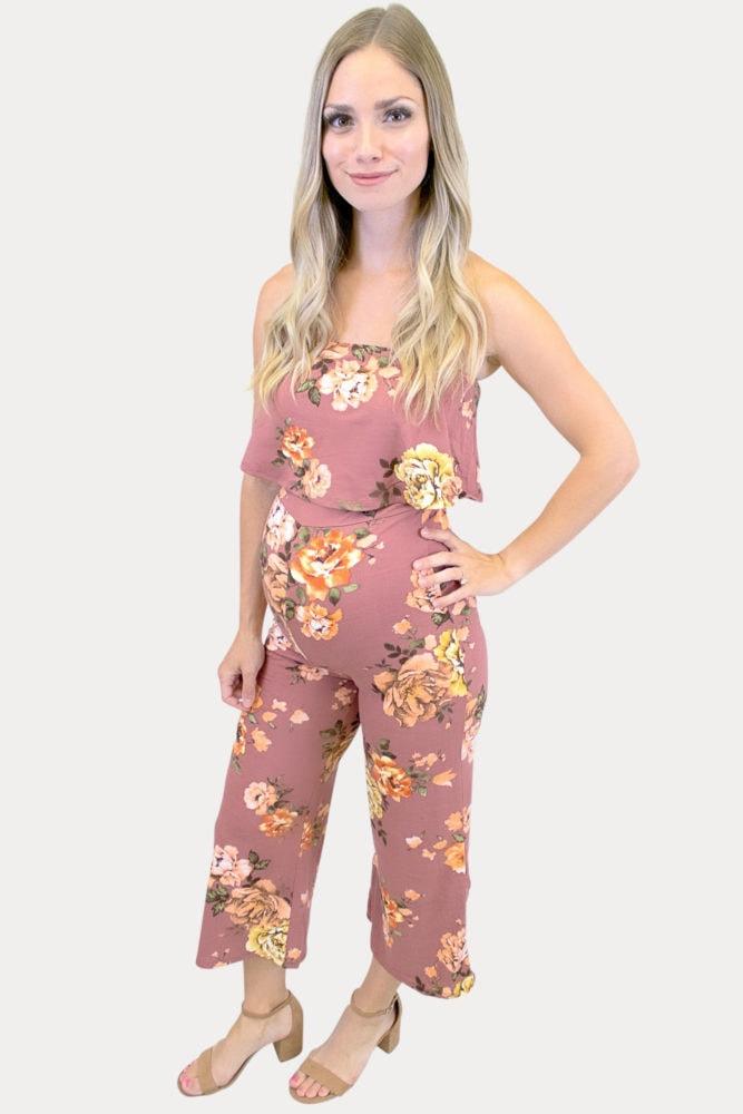 floral maternity jumpsuit