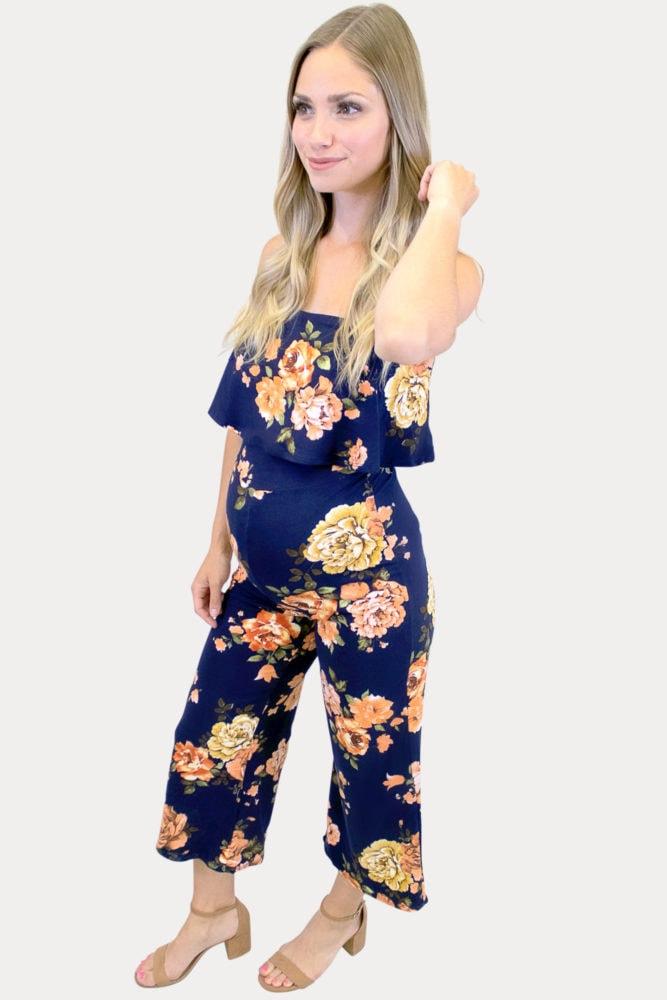 navy floral maternity jumpsuit