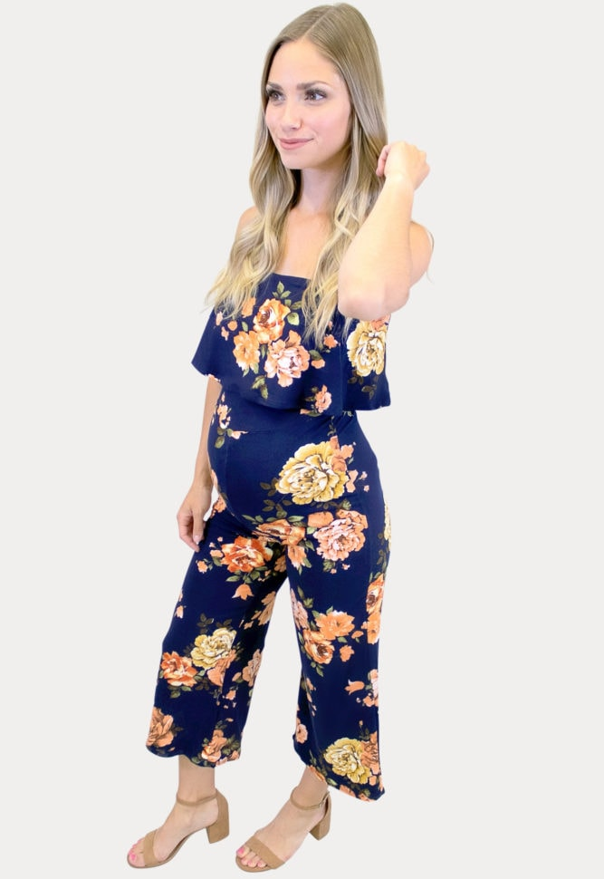navy floral maternity jumpsuit