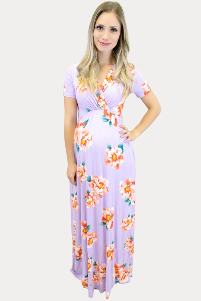 lavender floral maternity maxi