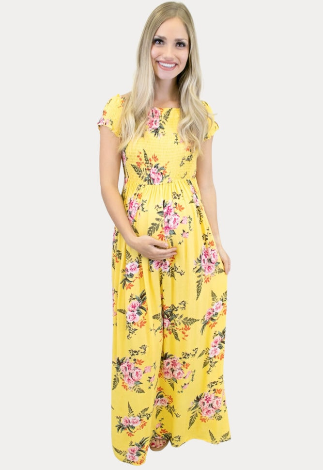 Yellow Smock Top Maternity Maxi