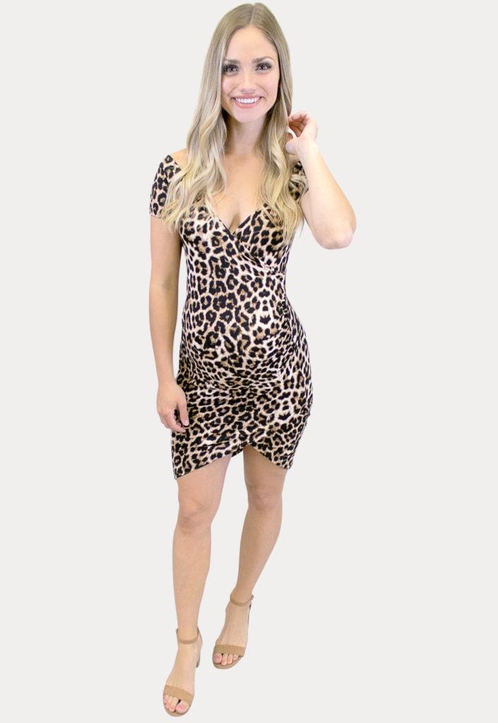 leopard mini maternity dress