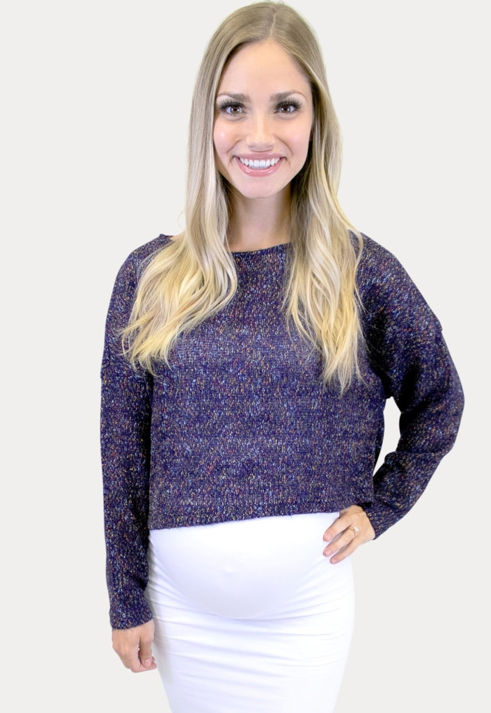 sweater maternity crop top