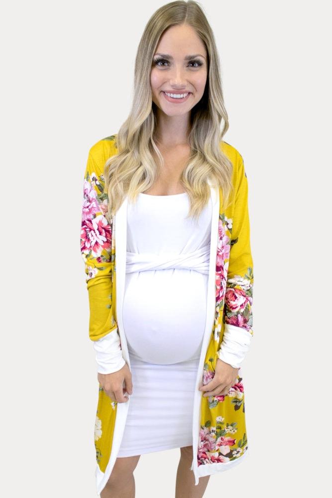 marigold floral maternity kimono
