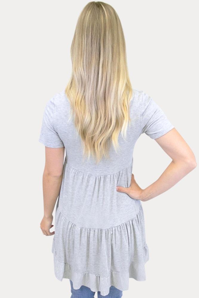 grey ruffle maternity tunic