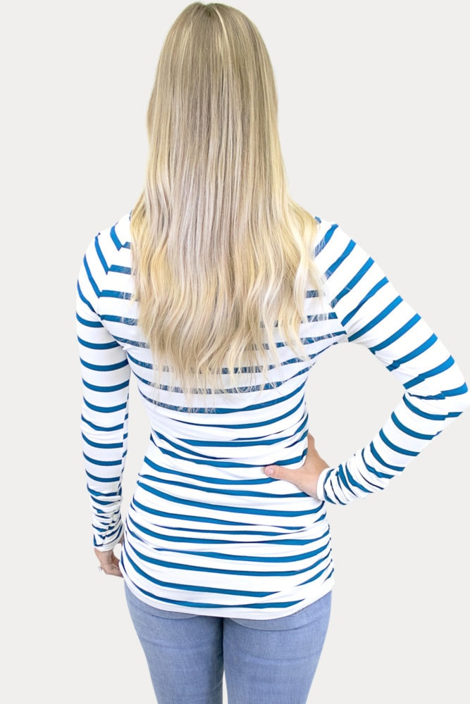 striped basic maternity top