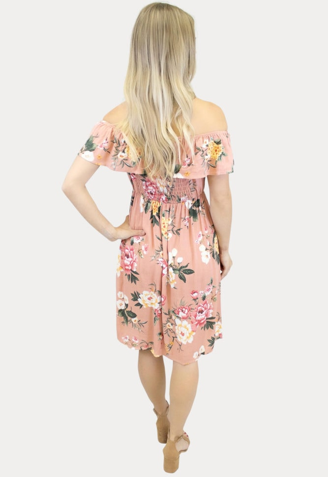 blush off the shoulder maternity dress