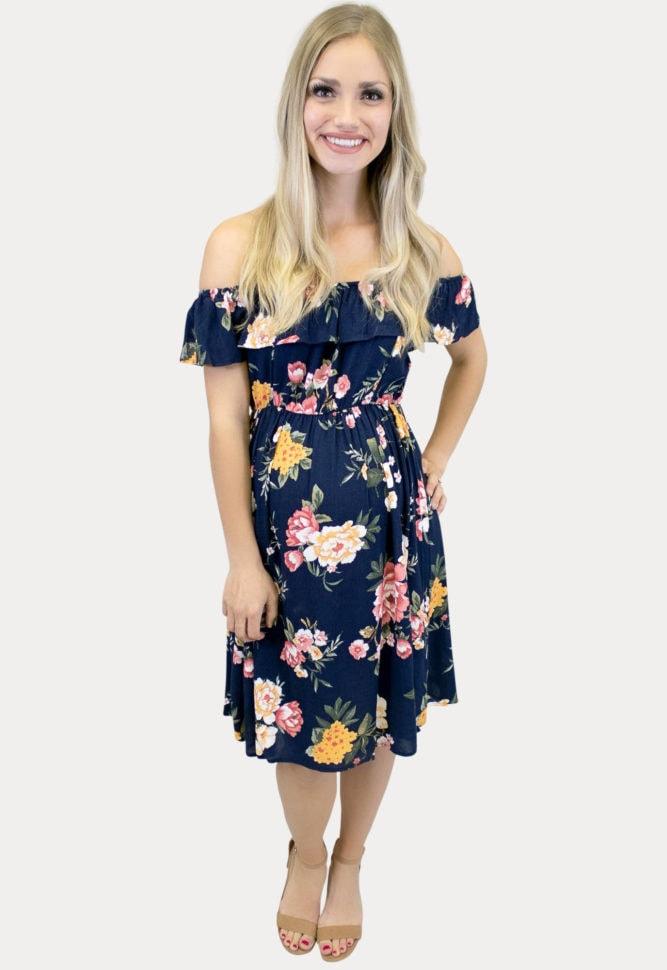 navy off the shoulder maternity dress