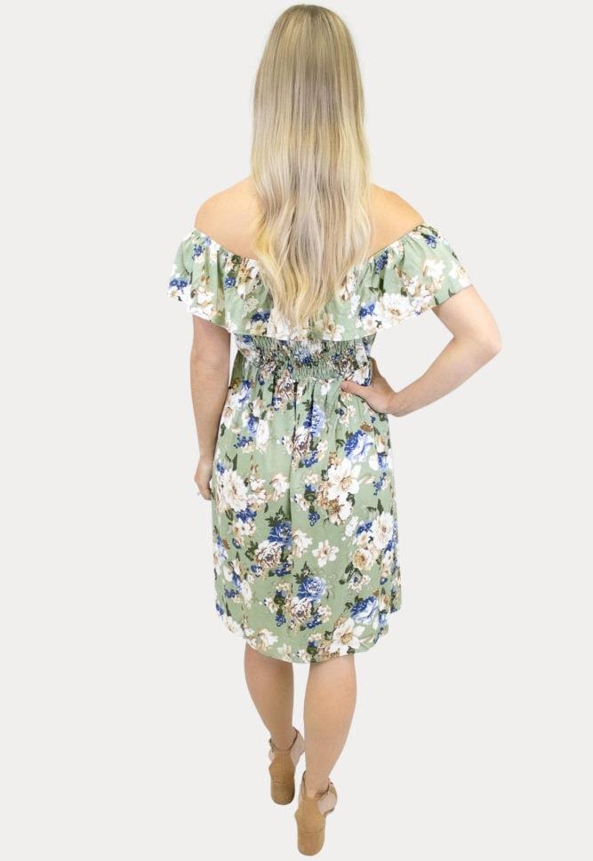 sage off the shoulder maternity dress