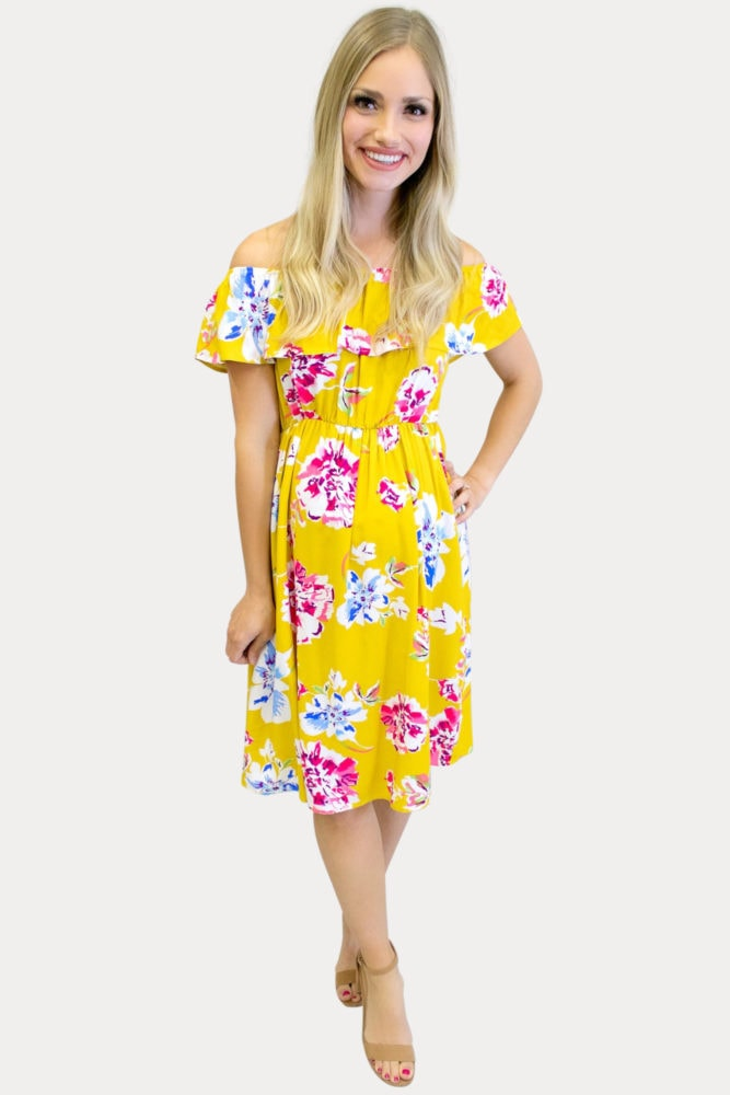 off the shoulder yellow maternity dress