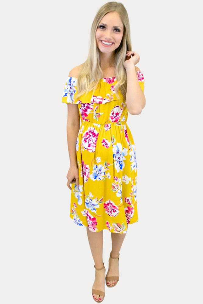yellow off the shoulder maternity dress