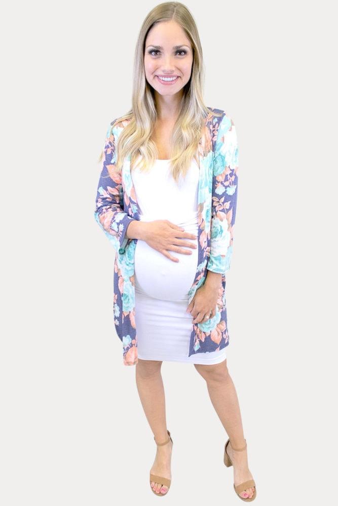 denim floral maternity kimono