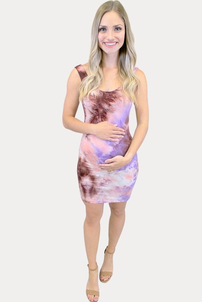 purple tie dye maternity dress