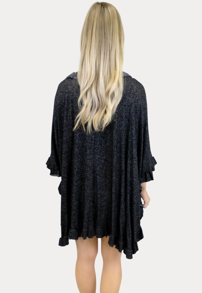 black maternity knit ruffle kimono