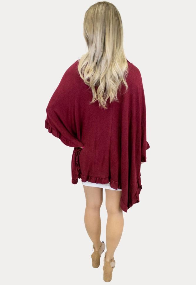 burgundy maternity knit ruffle kimono