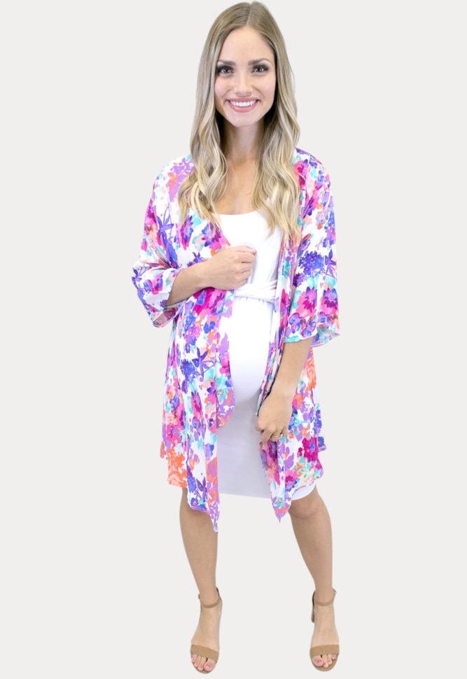 sheer floral maternity kimono