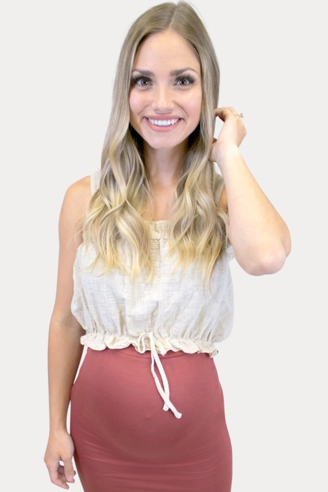 taupe maternity crop top