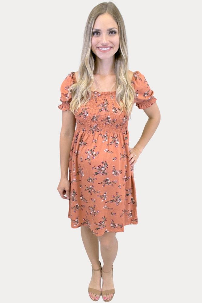 smock top floral maternity dress