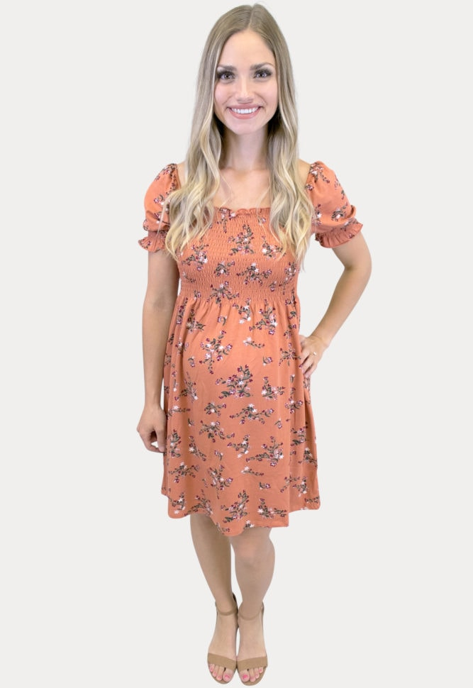 smock top floral maternity dress