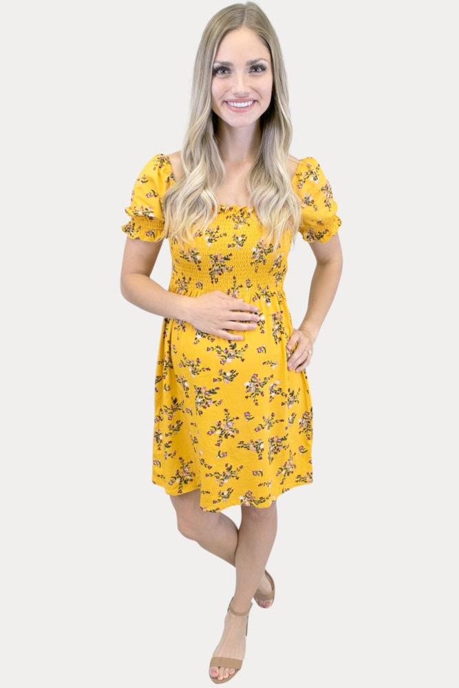 floral short sleeve maternity dress