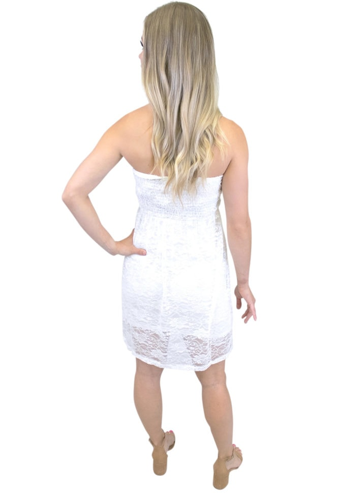 strapless lace maternity dress