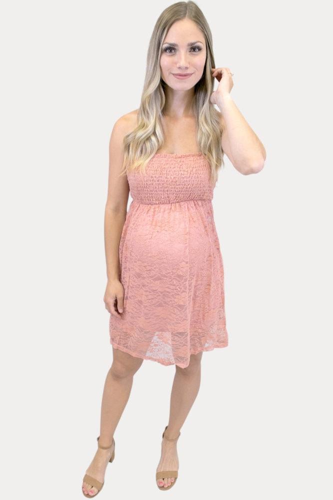 strapless smock top maternity dress