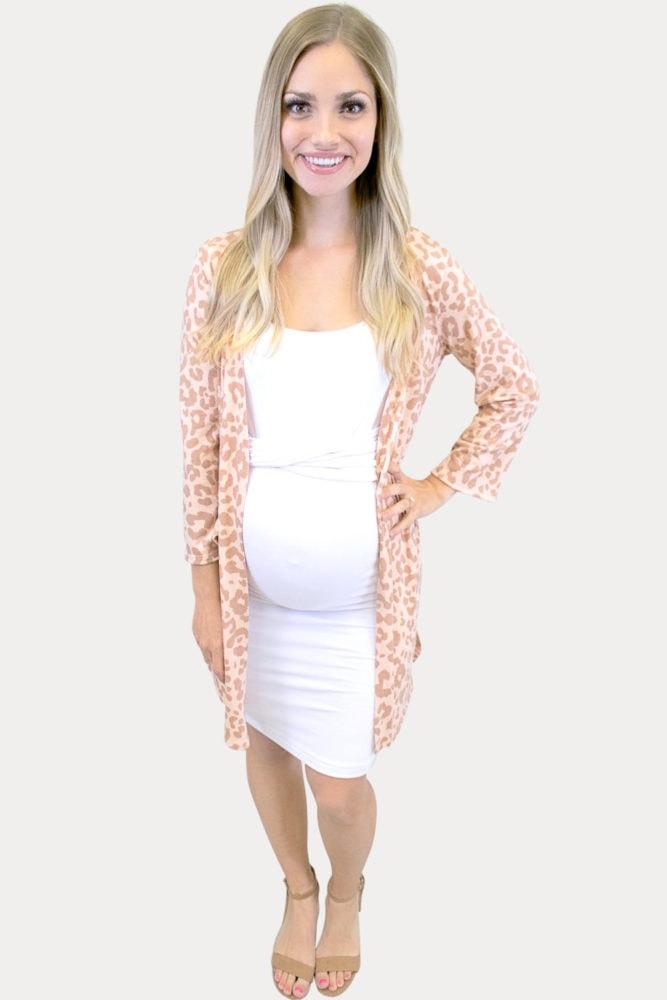 tan leopard maternity kimono