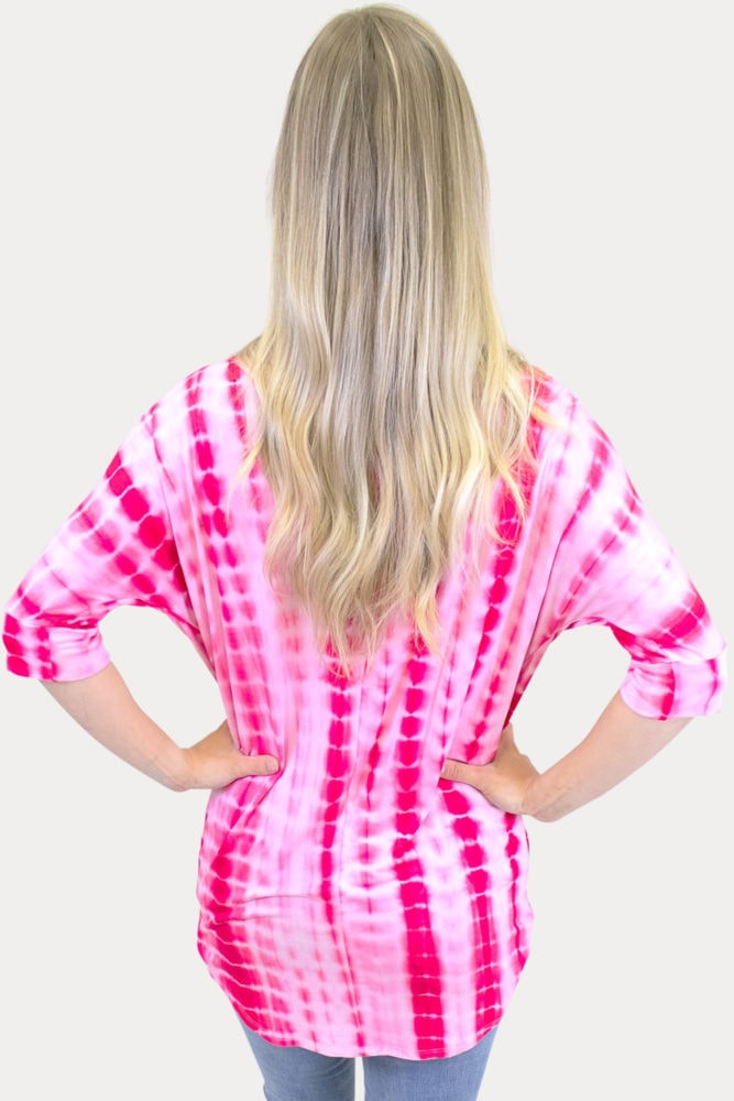 pink tie dye maternity tee