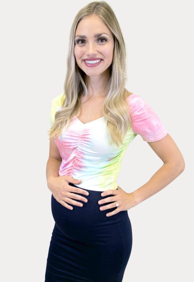 pink tie dye maternity crop top
