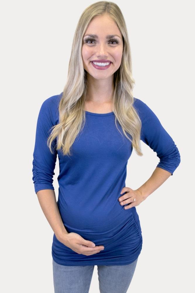 basic blue maternity top