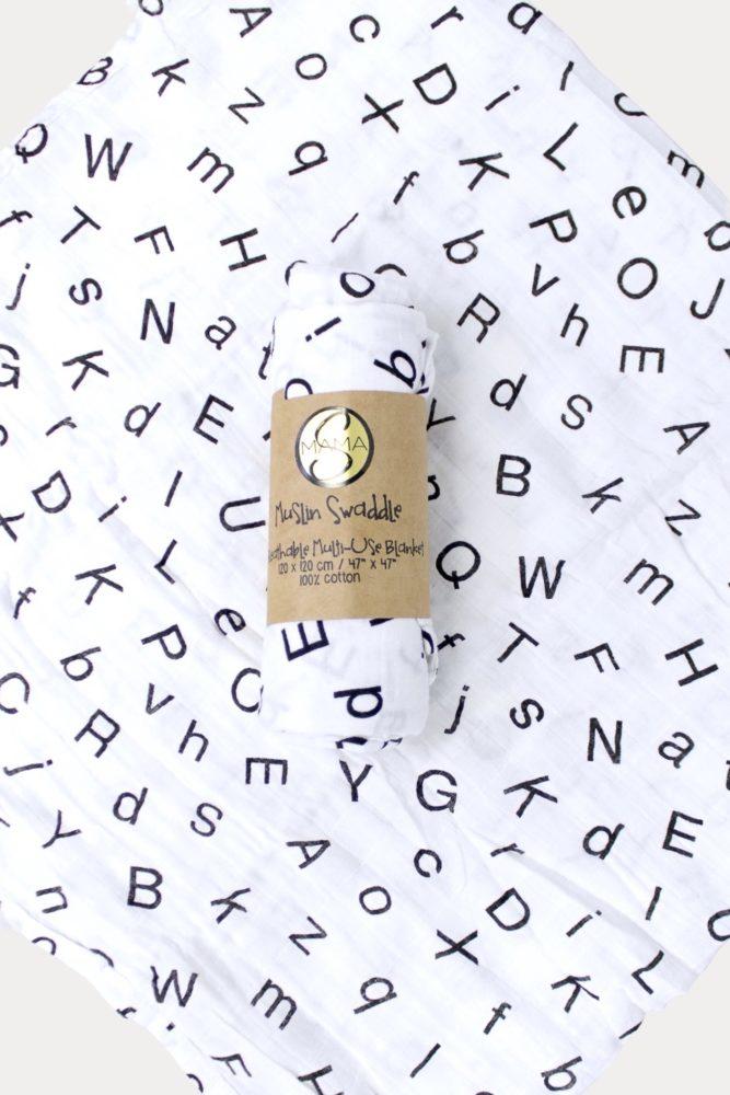 alphabet swaddle blanket