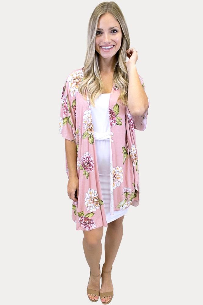 baby pink floral kimono