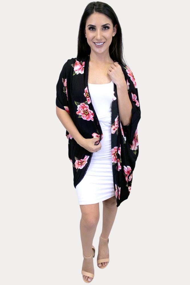women's black floral kimono