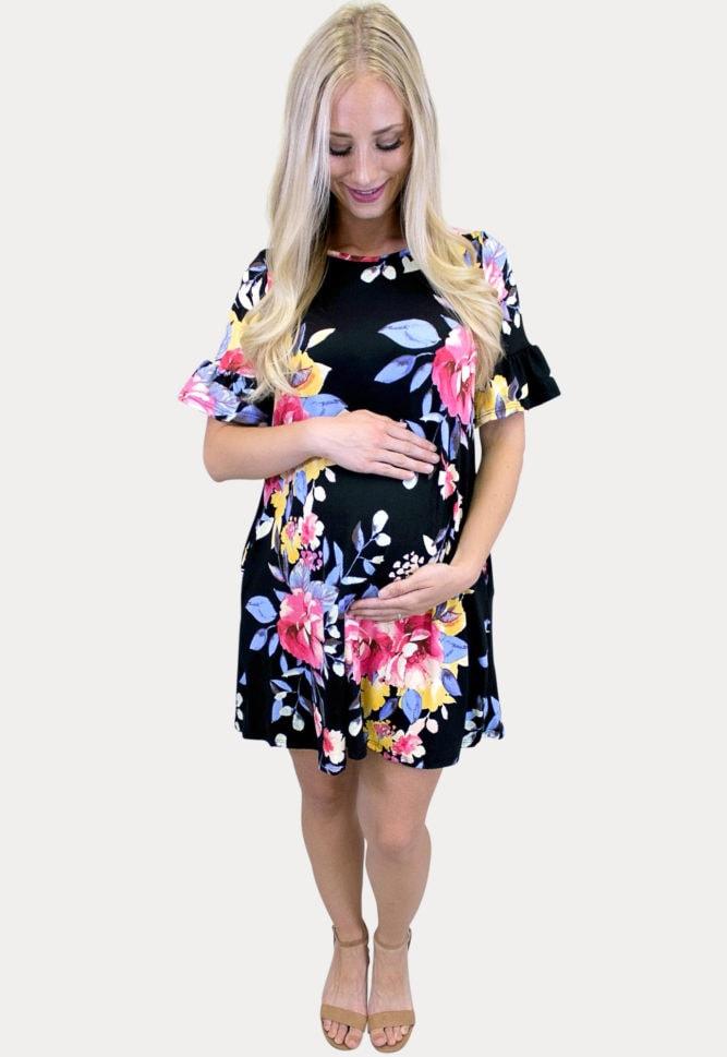 black ruffle sleeve maternity dress