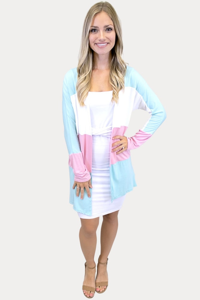 blue and pink cardigan